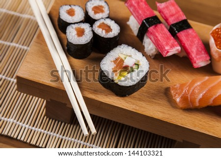 Variation of fresh tasty sushi food