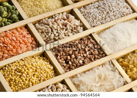 Variation  of lentils, beans, peas,  grain ,groats, soybeans, legumes in wooden box