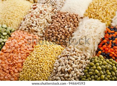 Variation of lentils, beans, peas,  grain ,soybeans, legumes, backdrop - stock photo