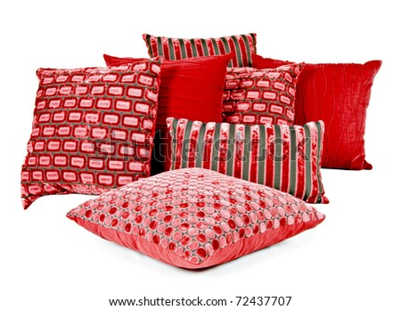 Variation of red and brown cushions - stock photo