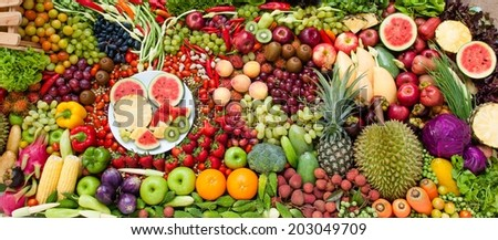Variations fruits and vegetables  - stock photo