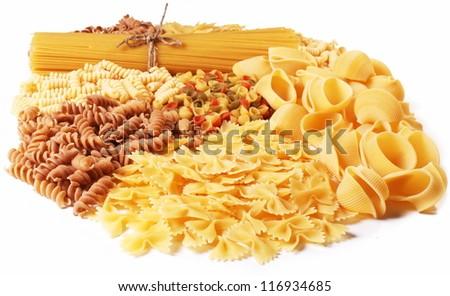 Variations of italian macaroni isolated on white background. - stock photo