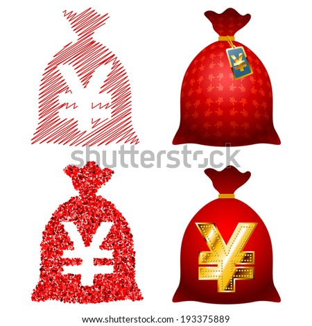 Variations on the theme ideas Currency sack; set of Yen; Raster Version - stock photo