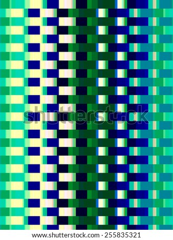 Varicolored geometric pattern with the symmetry of a basket weave or apartment tower, for themes of regularity and repetition in decoration or background - stock photo