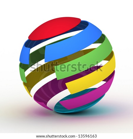 Varicolored globe on white background, 3D graphics