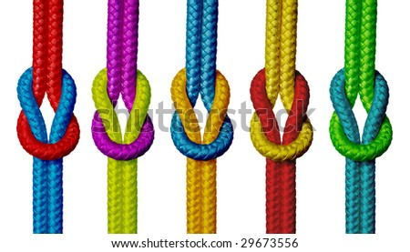 Varicolored ropes with knot on white background (isolated). - stock photo