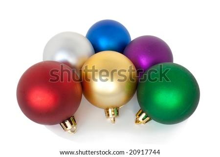 Varicoloured christmas balls on white background. - stock photo