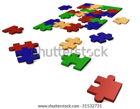 Varicoloured puzzle on a white background