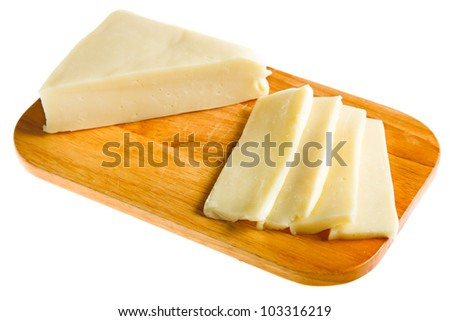 varied cheese isolated on white - stock photo
