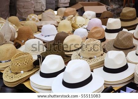 varied fashion hats showcase perspective market shop - stock photo