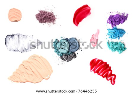 Varied smears, smudges and powders of cosmetics on a pure white background. Can be used together or as separate elements. - stock photo