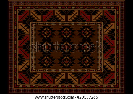 Variegated vintage carpet at maroon and brown shades with pattern in the center  - stock photo