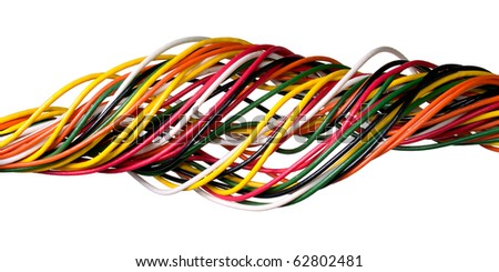 Variegated wire isolated on white background. - stock photo