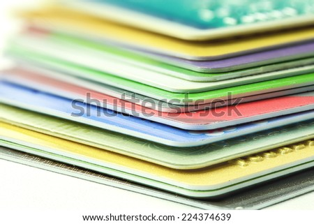 varieties of credits cards, close up shooting