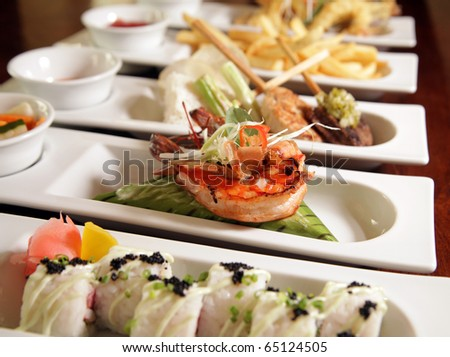 varieties of food ready to serve - stock photo