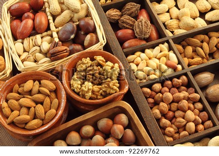 Varieties of nuts: peanuts, hazelnuts, chestnuts, walnuts,  pistachio and pecans. Food and cuisine.