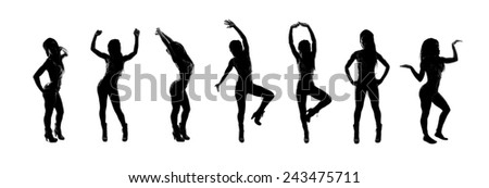 varieties silhouette of a young girl - stock photo