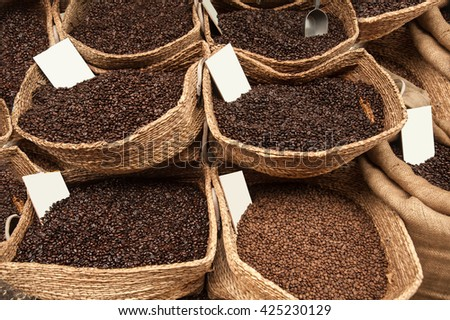 variety assorted coffee beans in bags  - stock photo
