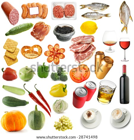 Variety food isolated over a white background