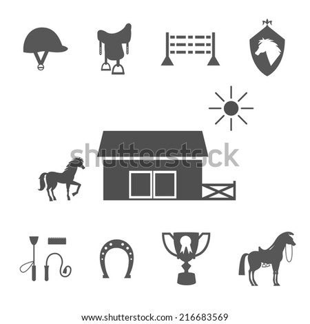 Variety Grayscale Horse Icons on White Background. - stock photo