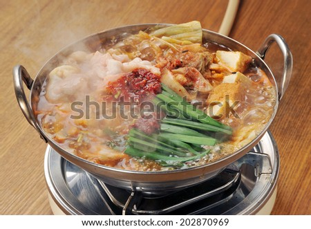 variety meat hot pot, motsunabe, japanese cuisine-4 - stock photo
