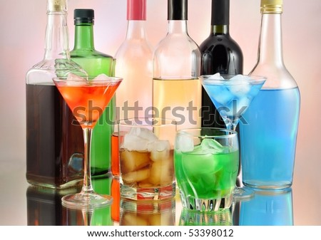 variety of alcoholic drinks - stock photo
