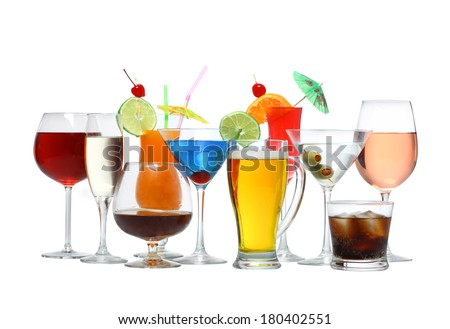 Variety of alcoholic drinks beverages and cocktails cutout, isolated on white background - stock photo