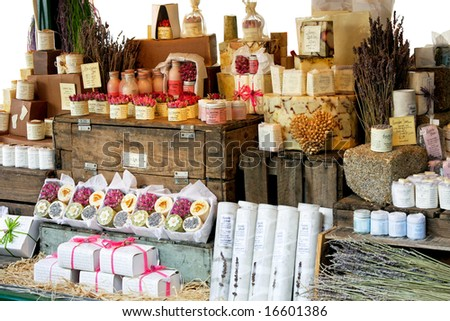 Variety of aromatherapy and spa soaps and natural cosmetics - stock photo