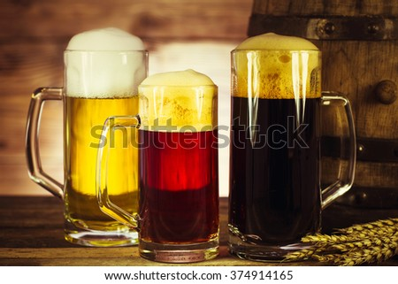 Variety of beer in the mug - stock photo