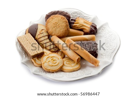 variety of biscuit isolated on white - stock photo