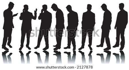 Variety of business men silhouettes - stock photo