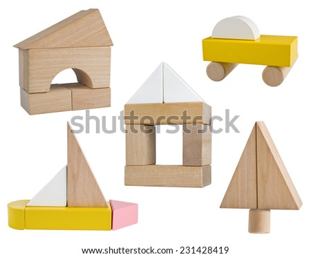 Variety of business symbols build from wooden toy blocks - stock photo