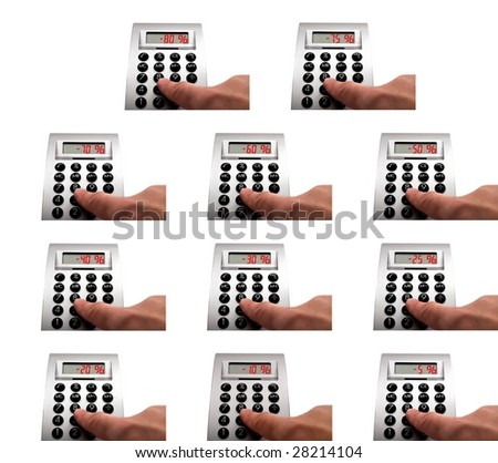 Variety of calculators with different red discounts - stock photo