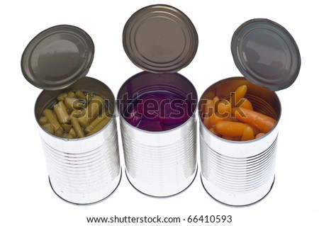 Variety of Canned Vegetables in Cans Including Asparagus, Carrots and Beets Isolated on White. - stock photo