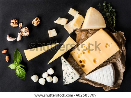 Variety of cheeses - stock photo