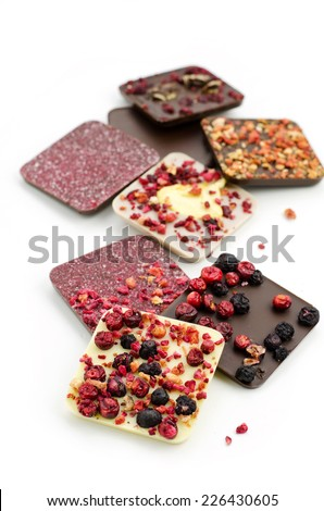 Variety of chocolate on white background