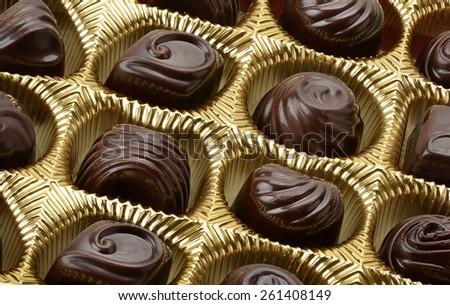 variety of chocolates in box - stock photo