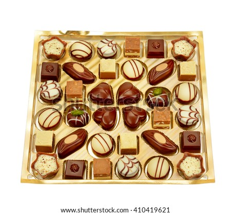 variety of chocolates in box isolated on white - stock photo