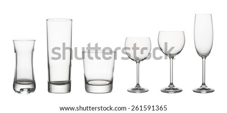 variety of classical glass for wine and water empty, on white background - stock photo
