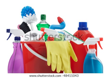 variety of cleaning products against white background - stock photo