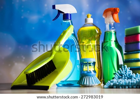 Variety of cleaning products,home work - stock photo