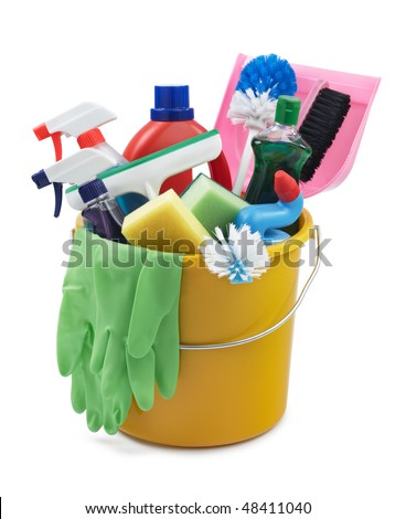 variety of cleaning products in a bucket - stock photo