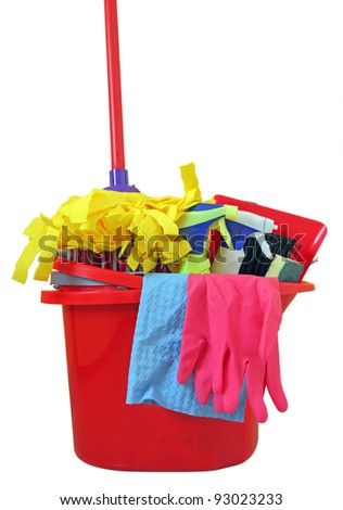 variety of cleaning products on white - stock photo