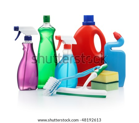 variety of cleaning products on white background - stock photo