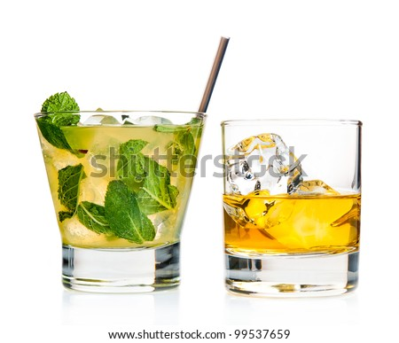 Variety of co?ktails on white background - stock photo