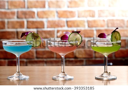 Variety of cocktails at the bar - stock photo