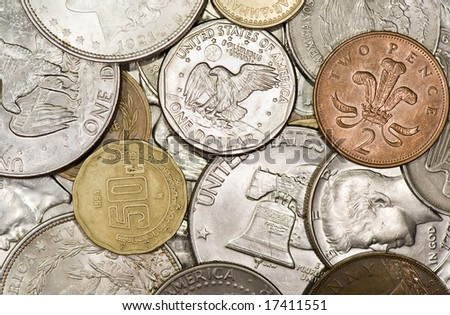 Variety of Coins from the US and different countries - stock photo