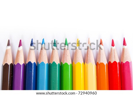 variety of color pencils isolated on white background - stock photo