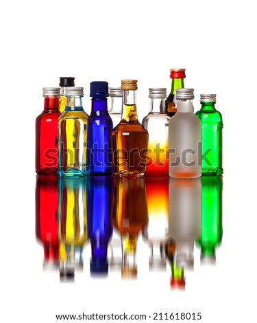 Variety of colorful bottles