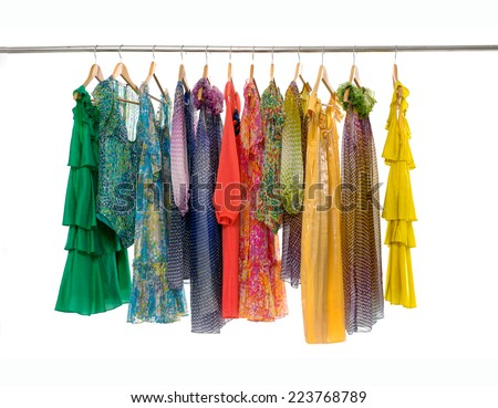 Variety of colorful fashion female clothing on hanging  - stock photo